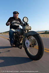 Jaon Sims riding his antique Harley-Davidson on the one rest day of the Motorcycle Cannonball coast to coast vintage run. Rest day in Sturgis, SD. Monday September 17, 2018. Photography ©2018 Michael Lichter.