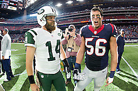 HOUSTON, TX - NOVEMBER 22:  Brian Cushing #56 of the Houston Texans talks at midfield after the game with Ryan Fitzpatrick #14 of the New York Jets at NRG Stadium on November 22, 2015 in Houston, Texas.  The Texans defeated the Jets 24-17.  (Photo by Wesley Hitt/Getty Images) *** Local Caption *** Brian Cushing; Ryan Fitzpatrick