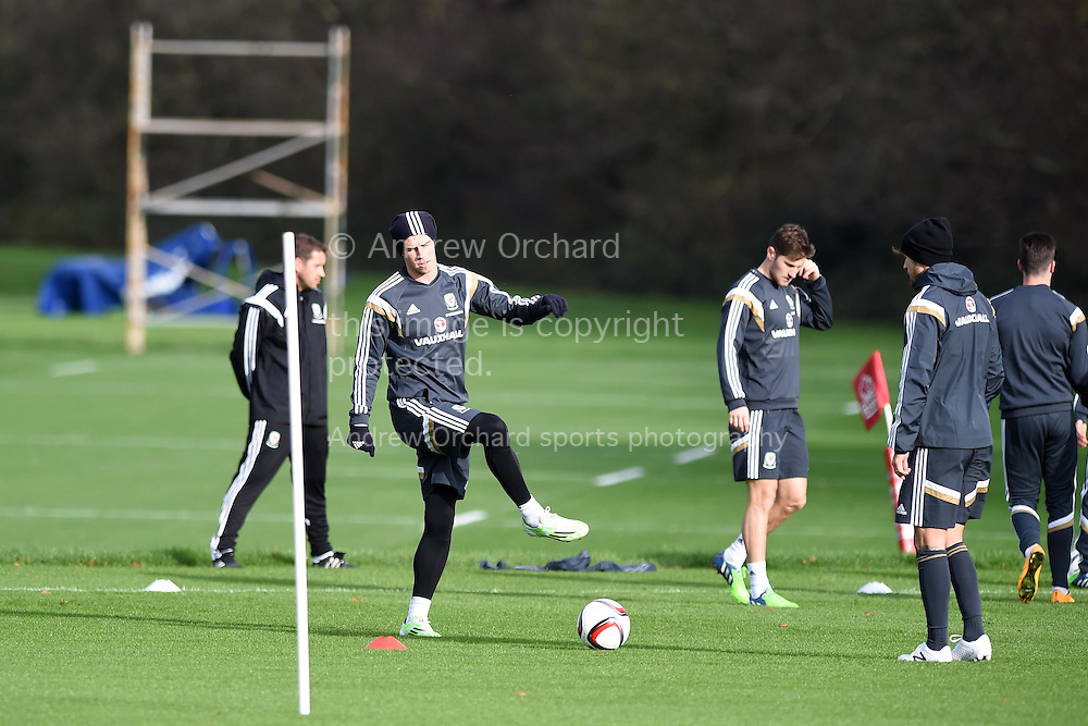 Gareth Bale of Wales (c) during Wales football squad training at the Vale Resort, Hensol, near Cardiff , South Wales onWed 12th November 2014. The team are training ahead of their Euro 2016 qualifying match against Belgium on the weekend.  <br /> pic by Andrew Orchard, Andrew Orchard sports photography.