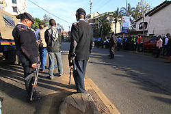 Jan 15, 2019 - Nairobi, Kenya - Police officials seen taking positions in Nairobi after the attack..It started at around 3:30 pm when an unknown number of armed gunmen with one suicide bomber launched an attack on Dustil Hotel in Nairobi Kenya. The attack left 2 dead and several injured as the paramedics had to take action of helping the injured to safety hospitals around. (Credit Image: © Donwilson Odhiambo/SOPA Images via ZUMA Wire)
