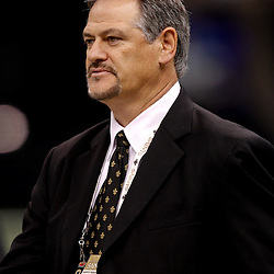 September 9, 2010; New Orleans, LA, USA;  New Orleans Saints general manager Mickey Loomis on the field during warm ups prior to the NFL Kickoff season opener between the Minnesota Vikings and the New Orleans Saints at the Louisiana Superdome. Mandatory Credit: Derick E. Hingle