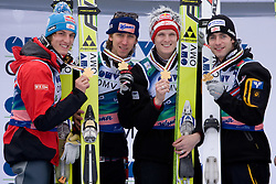 Winning team of Austria, from L: Gregor Schlierenzauer, Martin Koch, Thomas Morgenstern and Wolfgang Loitzl during medal ceremony after Flying Hill Team Second Round at 4th day of FIS Ski Flying World Championships Planica 2010, on March 21, 2010, Planica, Slovenia.  (Photo by Vid Ponikvar / Sportida)