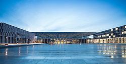 Evening view of new unfinished Berlin Brandenburg International Willy Brandt Airport Germany