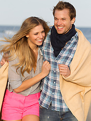 very beautiful couple enjoying time together at the beach in Montauk,NY