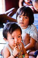 Children in Nanga Sumpa Longhouse, Sarawak.