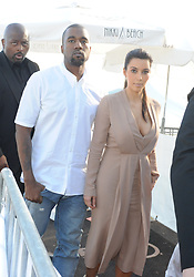 Kim Kardashian and Kanye West leaving the Nikki Beach in Cannes, France on May 23, 2012. Photo by ABACAPRESS.COM  | 321451_009