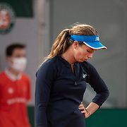 PARIS, FRANCE October 06. Danielle Collins of the United States reacts during her match against Ons Jabeur of Tunisia in the fourth round of the singles competition on Court Philippe-Chatrier during the French Open Tennis Tournament at Roland Garros on October 6th 2020 in Paris, France. (Photo by Tim Clayton/Corbis via Getty Images)