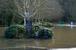 © Licensed to London News Pictures. 26/02/2020. Ironbridge, UK. Water swamped a carpark in Ironbridge as flood defences were breached on part of the River Severn as levels continued to rise police evacuated part of the town. Photo credit: Peter Manning/LNP
