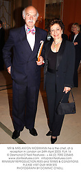 MR & MRS ANTON MOSIMANN he is the chef, at a reception in London on 24th April 2003.PJA 16