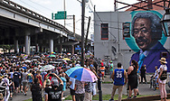 Second-line  for  New Orleans legendary musician, Dr. John (Mac Rebennack) in New Orleans passes a mural of  Allen Toussaint . Dr. John died of a heartattack on Jume 6, 2019