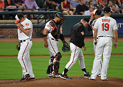 September 20, 2017 - Baltimore, MD, USA - Baltimore Orioles pitcher Wade Miley is taken out of the game in the top of the fifth inning by manager Buck Showalter against the Boston Red Sox at Oriole Park at Camden Yards in Baltimore on Wednesday, Sept. 20, 2017. The Red Sox won, 9-0. (Credit Image: © Lloyd Fox/TNS via ZUMA Wire)