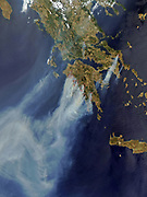 Fires over Greece in the summer of 2008. Satellite image.