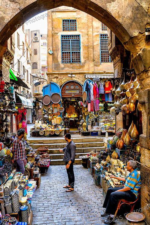 Street vendors with their colorful merchandise and souvenirs in the Khan El Khalili market in Islamic Cairo