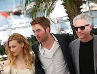 Sarah Gadon, Robert Pattinson, David Cronenberg,  Cosmopolis photocall at the 65th Cannes Film Festival France. Cosmopolis is directed by David Cronenberg and based on the book by writer Don Dellilo.  Friday 25th May 2012 in Cannes Film Festival, France.