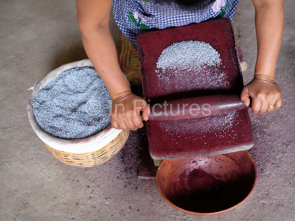 Master dyer Juana Gutierrez Contreras preparing conchineal red natural dye in the Zapotec weaving village of Teotitlan del Valle in Oaxaca, Mexico on 29 November 2018. Cochineal is a parasitic insect native to Mexico which lives on the leaves of the prickly pear plant. When ready to harvest, the insects are gently dusted off and left to dry before being ground to crimson dust. In Teotitlan cochineal is still ground by hand on stone metates and used as a natural dye for yarn
