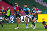 Rugby Union - 2020 / 2021 Gallagher Premiership - Round Nine - Harlequins vs Leicester Tigers - The Stoop<br /> <br /> Marcus Smith, of Harlequins, receives the hand off and heads for the try line <br /> <br /> <br /> <br /> COLORSPORT/DANIEL BEARHAM