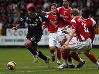 Photo: Tony Oudot.<br />Charlton Athletic v West Ham United. The Barclays Premiership. 24/02/2007.<br />Carlos Tevez goes past the Charlton defence