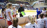 ROTTERDAM - MOP coach Toon Siepman tijdens  de  finale zaalhockey om het Nederlands kampioenschap tussen de  vrouwen  van Amsterdam en MOP.  Amsterdam wint de finale en dus het Kampioenschap.ANP KOEN SUYK