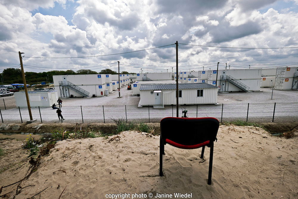 View over newly converted  shiping containers  accommodating refugees and migrants at The Calais Jungle Camp in France
