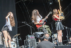 Haim play the main stage, T in the Park 2014.<br /> © Michael Schofield.