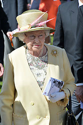 HM THE QUEEN at the Investec Derby 2015 at Epsom Racecourse, Epsom, Surrey on 6th June 2015.
