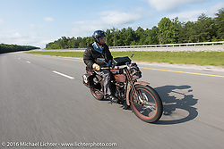 The oldest MCR rider on the earliest bike - Victor Boocock riding his 1914 Harley-Davidson during Stage 4 of the Motorcycle Cannonball Cross-Country Endurance Run, which on this day ran from Chatanooga to Clarksville, TN., USA. Monday, September 8, 2014.  Photography ©2014 Michael Lichter.