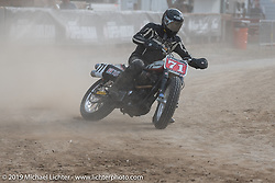 Hooligan flattracker (no. 71) Josh Young on his Harley-Davidson Sportster racer in the Hooligan races on the temporary track in front of the Sturgis Buffalo Chip main stage during the Sturgis Black Hills Motorcycle Rally. SD, USA. Wednesday, August 7, 2019. Photography ©2019 Michael Lichter.