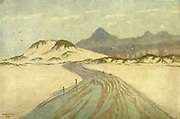 On Fish Hoek Beach, Cape Town, Nord Hoek Mountains in <br /> Distance From the book ' The Cape peninsula: pen and colour sketches ' described by Réné Juta and painted by William Westhofen. Published by A. & C. Black, London  J.C. Juta, Cape Town in 1910