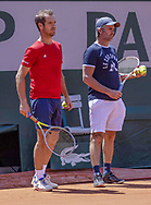 Richard Gasquet (FRA) and Julien Cassaigne during practice ahead of the Roland-Garros 2021, Grand Slam tennis tournament, Qualifying, on May 29, 2021 at Roland-Garros stadium in Paris, France - Photo Nicol Knightman / ProSportsImages / DPPI