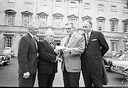 "21/07/1967<br /> 07/21/1967<br /> 21 July 1967<br /> Presentation for Fr. O'Flynn Memorial Park. The Irish American Heritage Society of Boston, USA, presented 400 dollars to Mr. A.A. Healy T.D., Chairman of the ""Loft"" in Cork for the Fr O'Flynn Memorial Park at Passage West, Co. Cork at Leinster House, Dublin. Picture shows Mr. Harry Weldon, (2nd from right), (formerly Chief of the Vocational Schools in Cork and former member of the ""Loft"") Founder-President of the Irish American Heritage Society of Boston presenting the cheque to Mr. A.A. (Gus) Healy T.D., with Mr. James McDonough, (left) and Mr. Joseph Patrick Murphy also of the Irish American Heritage Society."