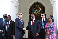 August 10, 2017 - Dar es Salaam, Tanzania – Philanthropist BILL GATES shares a moment with Tanzania President JOHN MAGUFULI at the Presidential State House. Gates acknowledged Magufuli's commitment to poverty reduction in his country and said his foundation will continue to support development efforts there. Gates was in Tanzania to learn more about the country's development agenda. Melinda Gates, co-chair of the Bill & Melinda Gates Foundation, also met with Magafuli during a visit to Tanzania last year. The foundation plans to invest  billion across the continent of Africa by 2021. (Credit Image: © Ric Francis via ZUMA Wire)