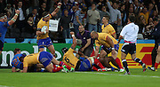 Celebrating Valentin Ursache (Romania) scoring a Romanian try during the Rugby World Cup Pool D match between France and Romania at the Queen Elizabeth II Olympic Park, London, United Kingdom on 23 September 2015. Photo by Matthew Redman.