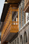 Traditionally made Spanish colonial balcony overlooking the Plaza de Armas, in Cusco, Peru, South America