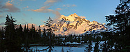 Picture Lake thaws in late spring - Mount Shuksan in the background - Mount Baker-Snoqualmie National Forest, Washington State, USA.