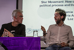 © Licensed to London News Pictures . 12/10/2013 . Manchester , UK . L-R Pirate Party UK Leader , Loz Kaye on a panel with Jamie Bartlett of the think tank , Demos . The Pirate Party UK Conference at the Museum of Science and Industry , Manchester . The Pirate Party campaigns on Digital Rights , freedom of information , civil rights , copyright law , censorship and Internet Piracy . Photo credit : Joel Goodman/LNP