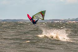Wind surfers were out at Portobello Beach, Edinburgh taking advantage of the ideal conditions © Jon Davey/ EEm
