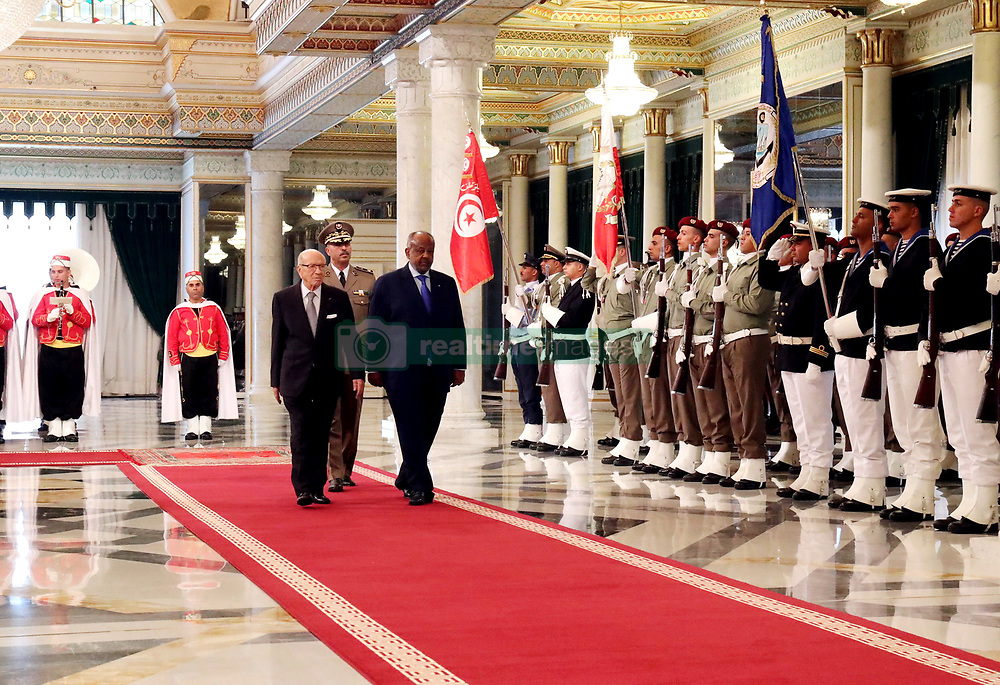 October 3, 2018 - Carthage, Tunisia - On official visit to Tunisia, Djibouti President Ismail Omar Guelleh was received Wednesday, October 3, 2018, by the President of the Republic Béji Caïd Essebsi, at the Carthage Palace..The 2 Presidents held a working session during which Memoranda were signed on maritime transport, tourism, crafts, digital economy, information and communication technologies, diplomacy and communication. culture..But the most important decision is certainly that relating to the visa exemption for citizens of both countries. A measure capable of facilitating bilateral exchanges in all areas. (Credit Image: © Chokri Mahjoub/ZUMA Wire)