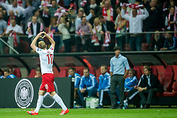 11.10.2014, National Stadium, Warsaw, POL, UEFA Euro Qualifikation, Polen vs Deutschland, Gruppe D, im Bild Sebastian Mila poland #18 radosc po gol bramka // Sebastian Mila poland #18 joy after goal celebrates after scoring goal // during the UEFA EURO 2016 Qualifier group D match between Poland and Germany at the National Stadium in Warsaw, Poland on 2014/10/11. EXPA Pictures © 2014, PhotoCredit: EXPA/ Newspix/ Sebastian Borowski<br /> <br /> *****ATTENTION - for AUT, SLO, CRO, SRB, BIH, MAZ, TUR, SUI, SWE only*****