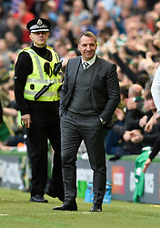 Celtic manager Brendan Rodgers smiles after the third Celtic goal during the Ladbrokes Scottish Premiership match at Celtic Park, Glasgow.
