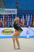 Nazarenkova Elizaveta of Uzbekistan competes durin Individual qulification of hoop in the World Cup at Adriatic Arena on April 10, 2015 in Pesaro, Italy. Elizaveta is an individual rhythmic gymnast of Russian origin born in Murmansk in 1995.