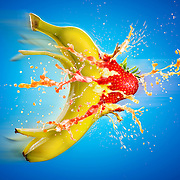 Banana and Strawberry collision Ray Massey is an established, award winning, UK professional  photographer, shooting creative advertising and editorial images from his stunning studio in a converted church in Camden Town, London NW1. Ray Massey specialises in drinks and liquids, still life and hands, product, gymnastics, special effects (sfx) and location photography. He is particularly known for dynamic high speed action shots of pours, bubbles, splashes and explosions in beers, champagnes, sodas, cocktails and beverages of all descriptions, as well as perfumes, paint, ink, water – even ice! Ray Massey works throughout the world with advertising agencies, designers, design groups, PR companies and directly with clients. He regularly manages the entire creative process, including post-production composition, manipulation and retouching, working with his team of retouchers to produce final images ready for publication.