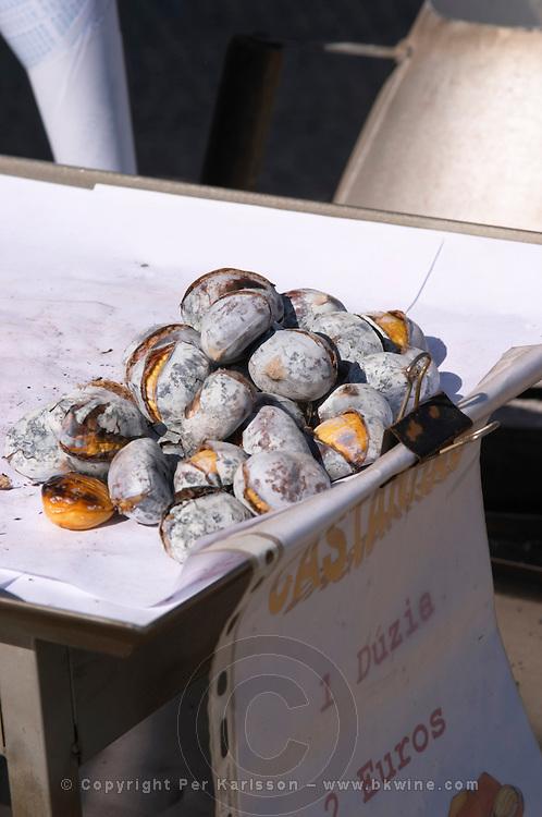 roasted chestnuts for sale praca do comercio lisbon portugal