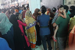 May 25, 2019 - Dhaka, Bangladesh - Commuter's line up at counter at Kamalapur railway station for Eid advance train ticket for go to hometown. Eid-Ul-Fitr is the biggest festive Muslim event, mark the end of the holy fasting month of Ramadan when many people return hometown to dearest one. (Credit Image: © MD Mehedi Hasan/ZUMA Wire)