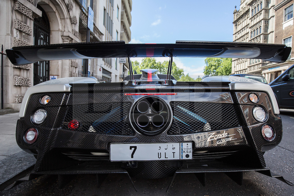 © Licensed to London News Pictures. 27/07/2015. London, UK. A Pagani Zonda supercar with Saudi Arabian license plates seen near Park Lane in London. Kensington and Chelsea Borough Council have announced plans that will make it a criminal offence to cause excessive noise unnecessarily, which will aim to stop showboating by drivers revving their engines, or super-fast accelerating. Photo credit : James Gourley/LNP