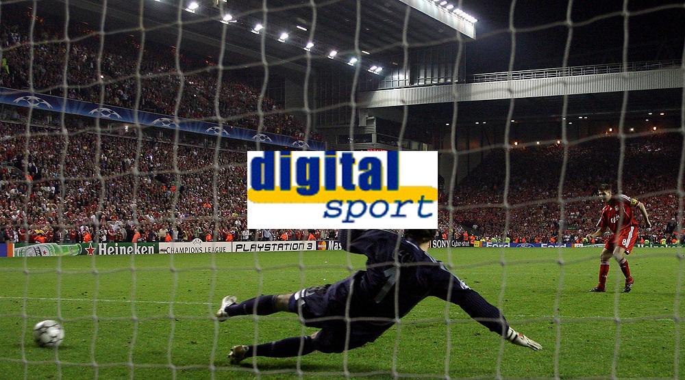 Photo: Paul Thomas.<br /> Liverpool v Chelsea. UEFA Champions League. Semi Final, 2nd Leg. 01/05/2007.<br /> <br /> Steven Gerrard scores his penalty past Petr Cech.