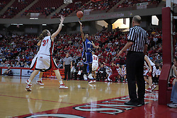 07 February 2009: Bianca Jarrett gets open on the opposite side of the lane as Nicolle Lewis for an open shot. Illinois State increased their 1st place lead by beating 2nd place Indiana State by a score of 69-48. The Illinois State University Redbirds hosted the Indiana State University Sycamores on Doug Collins Court inside Redbird Arena on the campus of Illinois State University in Normal Illinois