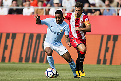 August 15, 2017 - Girona, Spain - 07 Raheem Sterling from England of Manchester City defensed by 06 Granell from Spain of Girona FC during the Costa Brava Trophy match between Girona FC and Manchester City at Estadi de Montilivi on August 15, 2017 in Girona, Spain. (Credit Image: © Xavier Bonilla/NurPhoto via ZUMA Press)