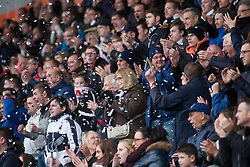 South stand after Falkirk's second goal. Falkirk v Raith Rovers. Scottish Championship game played 22/10/2016 at The Falkirk Stadium.