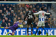 Jonathan Bond (GK) (West Brom) saves the ball from Florin Andone (Brighton) during the FA Cup fourth round match between Brighton and Hove Albion and West Bromwich Albion at the American Express Community Stadium, Brighton and Hove, England on 26 January 2019.