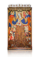 Gothic Catalan altarpiece depicting the Madonna of Mercy by Bonant Zaortiga, circa 1430-1440, tempera and gold leaf on wood, from the church of Mare de Dieu de Carrasca , Blancas, Terol, Spain. Against a white background.<br /> Bonnat Zaortiga was one of the most prominent representatives of the international Gothic. The Mother of God of Mercy  protects humans with her cape, symbolizing one of the most feared evils of the European Middle Ages, plague, often understood as a punishment for the sins of mankind. This was the central panel of the altarpiece of the church of the Mother of God. National Museum of Catalan Art, Barcelona, Spain, inv no: MNAC 3945. . .<br /> <br /> If you prefer you can also buy from our ALAMY PHOTO LIBRARY  Collection visit : https://www.alamy.com/portfolio/paul-williams-funkystock/gothic-art-antiquities.html  Type -     MANAC    - into the LOWER SEARCH WITHIN GALLERY box. Refine search by adding background colour, place, museum etc<br /> <br /> Visit our MEDIEVAL GOTHIC ART PHOTO COLLECTIONS for more   photos  to download or buy as prints https://funkystock.photoshelter.com/gallery-collection/Medieval-Gothic-Art-Antiquities-Historic-Sites-Pictures-Images-of/C0000gZ8POl_DCqE